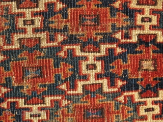 A colorful Turkmen Aksu torba? Indeed so! This early eastern Turkmen torba fragment has great scale and precisely rendered drawing illustrated with both super color and range of color. greenS, blueS, Silk.  ...