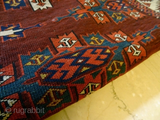 Antique Turkmen       All Natural Colors, Very fine original 1860's quality, Great Overall Pile, One foldware and two restorations, amazing velvet touch wool and richest colors  Bernard Zarnegin, Switzerland