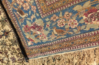 ANTIQUE KESHAN MOHTASHEM FINE RUG WITH PICTORIAL ANIMALS, 1880'     6'4 x 4'4 or 196cm x 137cm , ANTIQUE END OF 19 CENTURY ORIGINAL PICTORIAL PRAYER KESHAN MOHTASHEM, PROVENANCE : PRIVATE ESTATE IN  ...