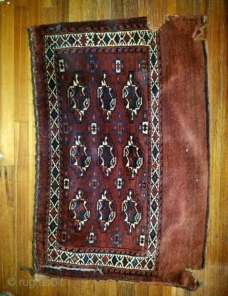 """32"""" x 49"""" - As found. Complete bag.  3 gouges; mostly in skirt. Scatter moth  in skirt. Old tear top left secured by fabic. Nice weave, color and sheen. Even  ..."""