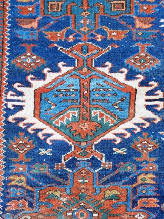 """Karadja  -about 7'4"""" x 10'7"""".  Nice color and drawing.  Scattered wear throughout and slight mothing one corner (see picture) easily repaired.  Very decorative carpet and complete with original  ..."""