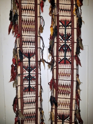 "tent/ceremonial band? - approximately 5"" x 194"" of which 21"" in the center is not decorated and worn. Some tassels missing from the sides, and each end unravelling."