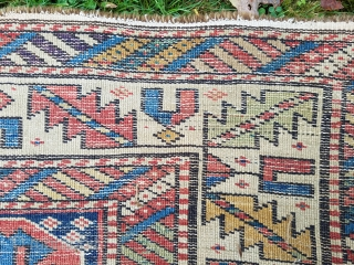 About 3.11 x 5.  As found condition.  Exquisite color and weave, without repairs.  Would benefit from wash.
