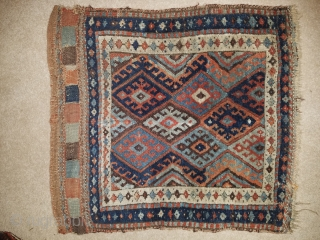 "Jaf Kurd - about 24"" x 28"", nice color, wool and weave.  Good pile with some brown oxidation, and old, crude border repair about 1"" x 1.5"""