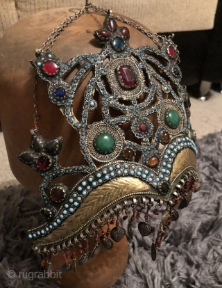 Beautiful Antique Central Asian (Samarkand Region) Uzbek silver crown with Turquoise, special stones, and coral. Perfect condition.