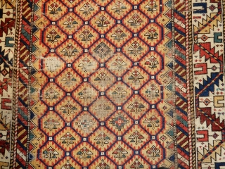 OLD KUBA- ALL ORIGINAL - GOOD BLUE SIDES AND FINE GOLD FIELD COLOR - 40 X 50 INCHES    - SLIGHTEST CENTER WEAR - SUPERIOR DYES USED - ALL NATURAL DYES
