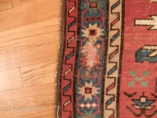 LARGE EAGLE OR CHELABERD KAZAK-- NOW EBAY ITEM  #232665790743--  5 FT X 8 1/2 FT SIZE-ALL GOOD DYES WITH A NICE GREEN AND SOME ANIMALS IN THE FIELD -   ...