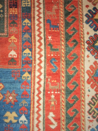 ALMOST A ROOM SIZE ANTIQUE FACHRALO KAZAK PRAYER RUG- WITH A SIZE OF 66 X 90 INCHES-  5 1/2 X 7 1/2 FT- NEEDS A  GOOD WASH - A FEW FAVORITE  ...