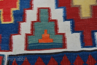 Caucasian kilim. Cm 200x320. Late 19th/early 20th century. Wonderful colors, except for some suspicious orange. Some minor corrosion on brown. Several pile dileks/wishes. In very good condition. See more pics on Facebook: https://www.facebook.com/media/set/?set=a.10151412087224258.541824.358259864257&type=1 Pls  ...