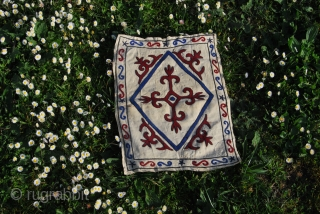 Kirghiz wool embroidery on leather square. Size is cm 38x48. Age unknown. See more pics on my Facebook page: https://www.facebook.com/media/set/?set=a.10152467140274258.1073741934.358259864257&type=1