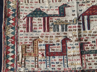 The Perfect Fragment! - Caucasian Verneh animal caravan horse blanket fragment with sumack weaving. Cm 62x72 ca. Datable 1860/1880 if not earlier.... Karabakh or Shahsavan. Great colors. Antique, rare, beautiful, collectible.