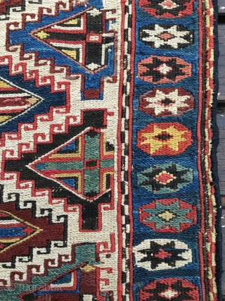 "Shahsavan Moghan sumack bag face. Cm 52x56. Second half 19th. White background filled with hooked diamonds enclosing cross motifs. Lovely star border. All natural, ""fresh"" dyes. Amazing sumack weaving with many color  ..."