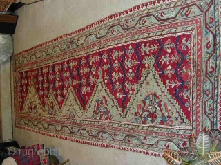"""Ushak saf. Cm 140x420 or ft 4.6x13.7. Early 19th. Lovely natural dyes, good condition, old minor repairs. A real abstract art """"painting"""". More infos & pics on rq. I bought this wonderful  ..."""