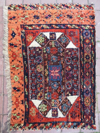 Eastern Anatolia Diwan carpet  fragment. Most probably Kagizman. Perfect size for a fragment: cm 86x114 or ft 2.8x3.7 . Second half 19th century. Best natural dyes. The apricot is simply incredible.  ...