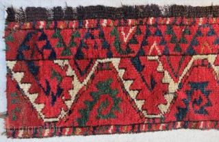 "One more fantastic color ""Salorish"" Ersari main rug fragment. Size is cm 35x180. Early 19th c."