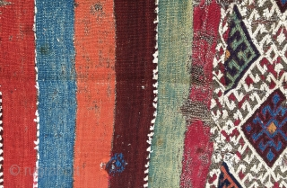 Colorful East Anatolian cuval. Cm 105x150. 2nd half 19th c. Wonderful saturated colors. In worn condition but still glowing. White is cotton.  If I had time I would take proper care  ...