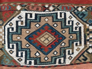 Anatolian cuval or storage bag. Cm 110x120 ca. 1880sh. Coarse wool, fine weave. Battered, wrecked but beautiful, antique, colorful, great! Reasonably priced.