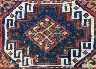 East Anatolia cuval/storage bag. cm 105x120. Great, unusual color palette. Fantastic saturated natural colors. 1860/1880sh. Lots of problems during its life, but still a masterpiece.