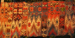 East Anatolian kilim fragment, probably Aleppo. Cm 210x100 ca. Imho could be mid 19th century if not earlier. Fantastic dyes. If you turn it horizontally it looks like a saf....... See more pics  ...