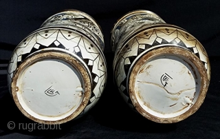 Pair of antique and big Ceramic Albarelli from Civita Castellana, one of of the most famous ceramic maker places in Italy. Fratelli Crestoni Di Girolamo. Civita Castellana. Viterbo. Lazio. Central Italy.