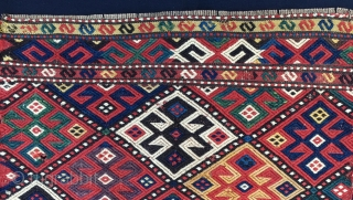 Shahsavan sumack mafrash end panel . Cm 43x53. 2nd half 19th c. Weft float brocading weave. Great natural saturated colors: yellow, madder red, two different greens, deep indigo blue, aubergine, black, white.  ...
