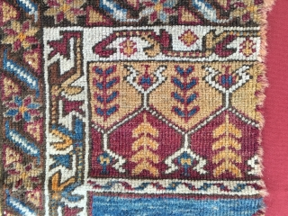 Yahyali Zile rug fragment. Central Anatolia. Cm 56x76. End 19th c. Professionally mounted. Here you enjoy the classic Yahyali yellow, a lovely deep madder red, a sweet indigo, walnut......