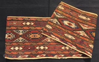 Shahsavan sumack mafrash long panel. Cm 38x118. 1880sh. Great pattern, strips, medallions, symbols, negative/positive double arrive or four hooks? Deep natural saturated colors. In good condition. Shooting outdoor in partial cloudy weather.