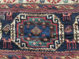 Shahsavan sumack Killer. One of the best I've ever seen. Sumack mafrash long panel. Mid 19h c. Size is cm 41/47x99. Very fine weave, fantastic pattern, wonderful deep, saturated colors. Great condition  ...