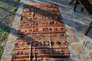 Western Anatolia, probably Bergama area, kilim with cicim brocade - second half 19th century -great, bright, strong dyes - For more pics have a look at this facebook link: http://www.facebook.com/album.php?aid=195084&id=579403491 See a very  ...