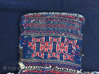 Graphics & Colors are the main features of this otherwise normal Baluchi saltbag or namakdan. Cm 63x73. Late 19h or early 20h c. It's more like a modern painting than an old  ...