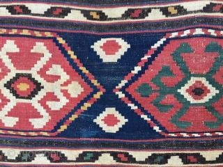 Kazak Bordjalu kilim. Cm 95x210. Late 19h c. Great natural saturated colors, great big ram horn med pattern, great condition. Very well woven. there is no difference between front and back. A  ...
