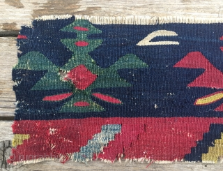 Sarkoy kilim fragment. Cm 18X55. 2nd half 19h c. Very fine weave. Wonderful colors. Long story behind this fragment: about 40 years ago 2 guys from Serbia found/bought a wooden chest in  ...