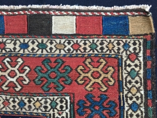 Shahsavan sumack bag face. Cm 55x60 ca. Great pattern, great age, great colors. Lovely center with dark blue background, the ceiling of nomads. Well drawn, well proportioned, well preserved.