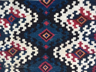 Beautiful & rare Malatya Sinanli bag face. Cm 70x70 ca. Late 19th or early 20h c. Flatweave, great natural saturated colors, like the deep, super cochineal and a fantastic petrol blue indigo.  ...