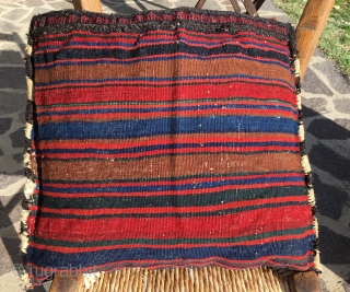Baluchi colorful sumack bag. Cm 40x46. Late 19h or early 20h c. Wool, cotton, goat hair. Very tight weave. Deep natural dyes. Lovely graphic. In great condition. Have a look also at  ...