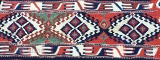 Eastern Anatoiia, Malatya area, Sinanli tribe, part of the bigger Rashwani tribal group, kilim fragment. 3rd q 19h c. Lovely colors, see green, madder & cochineal. Rare piece.