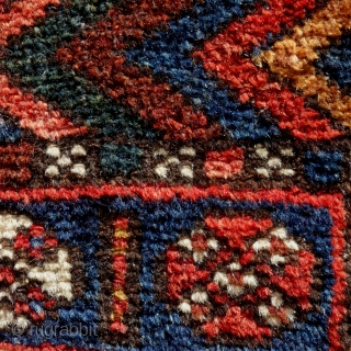 Kurdish Sinjabi bag face, 107x76cm, end of 19th, saturated, beautiful colours, gently hand washed.