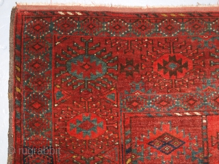 Antique Ersari Turkmen rug of excellent design and colour, fine weave and small size; the rug is of a soft red colour with a superb green used through out. This small size  ...