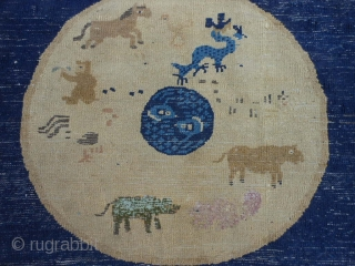 Peking Chinese, late 19th century, 2-5 x 2-11 (.74 x .89), missing ends, blacks oxidized, zodiac signs, hand washed, wear, dragon, monkey, horse, squirrel and cow have had some reweave, decent pile,  ...