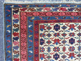 Caucasian Siechour Kuba, Late 19rh century, 3-7 x 5-4 (1.09 x 1.62), very good condition, blacks oxidized, good pile, original ends, original edges, tight weave, good colors, no repairs, rug was washed,  ...