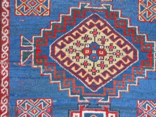 Caucasian Kazak, circa 1900, 4-4 x 8-8 (1.32 x 2.64), rug was washed, browns oxidized, one end original braiding, good pile, good condition, few moth bites, original edges and ends, slight wear,  ...