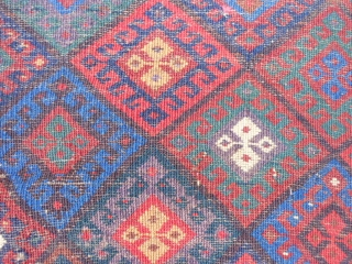 Persian Jaf Kurd bag, late 19th century, 2-6 x 3 (.76 x .91), saturated colors, good pile, rug was hand washed, one inch hole, 6 tiny holes, no rot, super purple, plus  ...