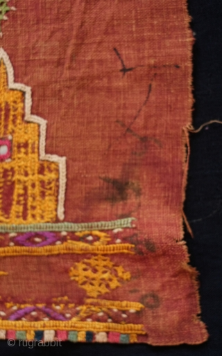 Rajasthani Shawl Fragment, 3rd to 4th quarters of 19th century.  Cotton ground with silk and cotton embroidery with mirrors.  A row of motifs in the image of temples or stupas  ...
