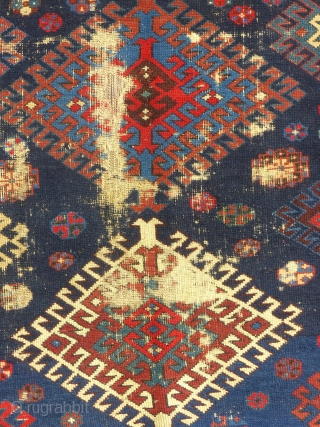 Antique Caucasian Prayer Rug, c. 1875-1900, Interesting but worn.