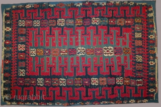 Anatolian kilim, Yuncu type, from the Balikesir region, early 19th century, 70 x 106 inches  (178 x 260cm). In good condition with some losses and several areas of reweaving especially in  ...