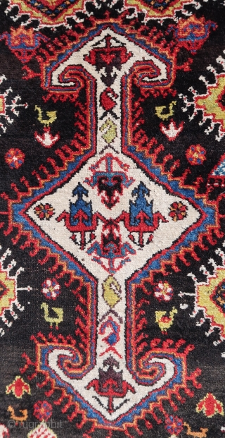 Chahar Mahal Province, Saman town rug ca; 1920 ,wool on wool, ca; 260 cm x 140 cm .Good colors, some rough resto s  in one guardborder ( see pic.) 