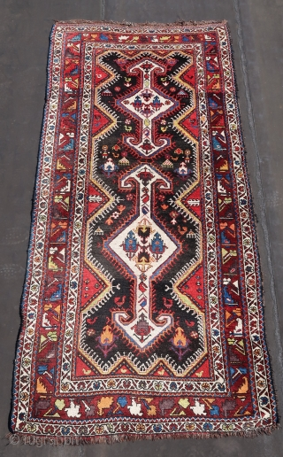 Chahar Mahal Province, Saman town rug ca; 1920 ,wool on wool, ca; 260 cm x 140 cm .Good colors, some rough resto s  in one guardborder ( see pic.)  Anchor medallion  ...
