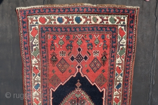 Caucasian, NW Persian Kurdish, runner, wool on wool, ca; 480 cm x 90 cm b/c condition. Good pile, Some corrosion in the black. First Qth.20Th .( One cut and shut, in the  ...