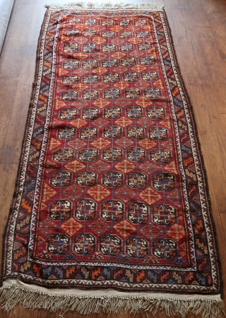 Kurdish Veramin / Kordi Khorasan ,full long piled, good overall condition.  Wool on wool, goat-haired outer border , cleaned and washed. Good colors, including the orange, and  purple . Old,  ...