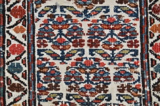 "Antique Shahsavan flat woven mini khorjin. 28-1/2"" X 11"". Circa 1900. Soumac bud and flower design on cotton ground. Beautiful natural colors. Fine original condition."